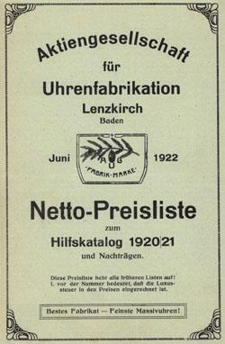 Lenzkirch Preisliste Juni 1922